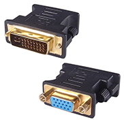 A DVI-I (24+5) to VGA adapter housed in a black shaped casing with a female VGA gold plated connector and a DVI-I(24+1) gold plated connector