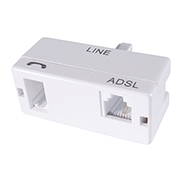 A white ADSL micro filter with a BT male connector port and a BT/RJ11 female port in a white plastic housing