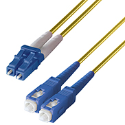 Duplex Fibre Optic Single-Mode Cable OS2 9/125 Micron LC to SC Yellow