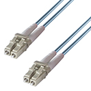 1.5m Duplex Fibre Optic Multi-Mode Cable OM3 50/125 Micron LC to LC Aqua