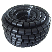 A black cable tidy spiral wrap