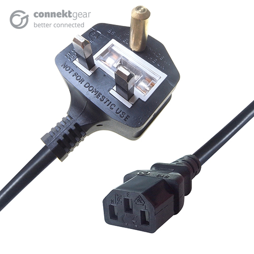 1.25m Mains Power Cable Britmac Plug to C13 Socket